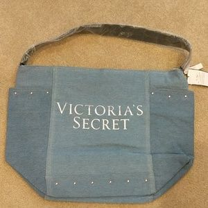 NWT Victoria's Secret denim tote with pockets
